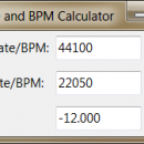 Sample Rate and BPM Calculator freeware screenshot