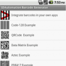 Barcode Generator for Android freeware screenshot